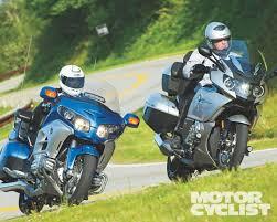 bmw k1600gtl vs honda gl1800 gold wing mc comparo motorcyclist