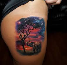 beautiful sunset with an elephant u0026 tree best tattoo design ideas