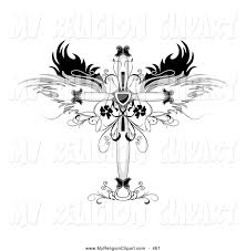religion clip of a fashioned ornamental cross with wings