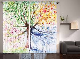 Living Room Curtains On Ebay Abstract Art Watercolor Tree Four Seasons Spring Living Room