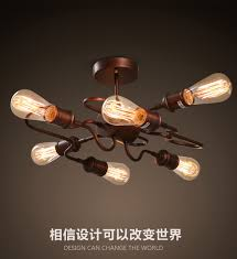 Wrought Iron Ceiling Lights 6 Heads American Countryside Industrial Vintage Loft Style Wrought