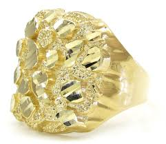 mens gold rings 10k yellow gold large nugget ring