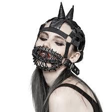 gothic heavy punk men women black leather mask steampunk halloween