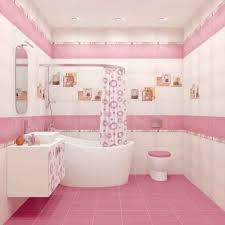 small bathroom design with pink color white tub and circular