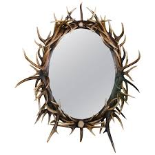 Unique Wall Mirrors by Late 20th Century Large Oval Antler Mirror Late 20th Century