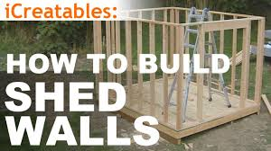 Free Plans For Building A Wood Storage Shed by How To Build A Shed Part 5 Wall Framing Youtube