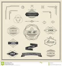 set of retro vintage linear thin line art deco design elements