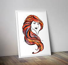 woman outline red hair watercolor painting print instant