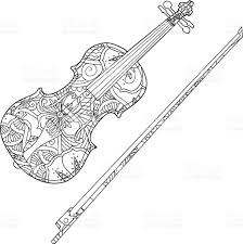coloring page with ornamental violin and fiddlestick isolated on