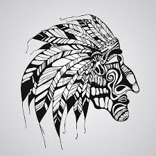 vector hand drawn tattoo native american indian chief royalty