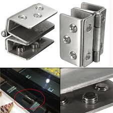 2pcs glass to glass door double clamp shower hinges grip hardware