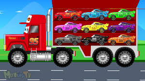 bigfoot presents meteor and the mighty monster trucks big red transporter truck collect lightning mcqueen cars video