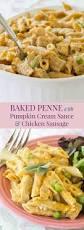 sausage pumpkin cream sauce baked penne pasta casserole