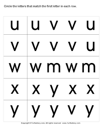 circle the matching letter u v w x y worksheet turtle diary