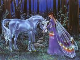 purple fairies grass horn horse night rocks trees unicorn white