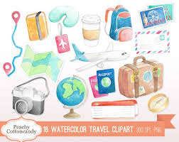 travel clipart images Buy 2 get 1 free watercolor travel clip art holiday vacation jpg