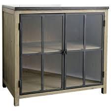 meuble bas cuisine meuble bas vitré de cuisine en pin recyclé l 90 maisons du monde