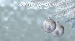 merry christmas snow background with silver balls holiday snowy