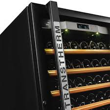 Wine Cabinet With Cooler by Transtherm Wine Cabinet Ermitage Glass Door Black Fully Shelved