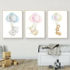 tableau chambre bébé décoration poster toile lot de 3 posters toiles animaux ballon