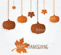 happy thanksgiving poster with hanging leaves and pumpkins stock