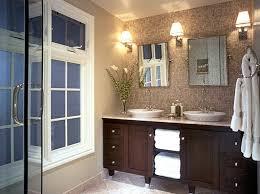modern bathroom vanity with three wall lantern sconces part of
