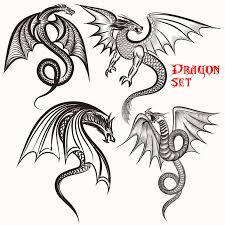 collection from dragons for design stock vector