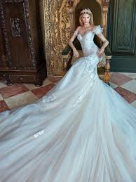 statuesque and elongated embroidered flower chantilly lace mermaid