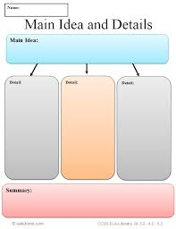 common core graphic organizer main idea and details k 5
