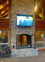 indoor fireplace with water feature electric stacked stone