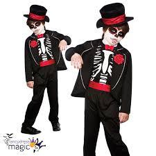 Skeleton Costume Boys Halloween Fancy Dress Day Of The Dead Skeleton Costume