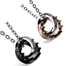 couples necklace aroncent 2 pieces stainless steel couples necklace king crown