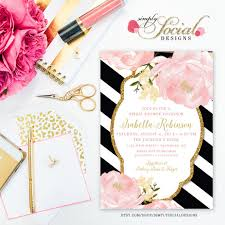 black and white striped wedding invitations garden peonie flowers blush pink and gold black and white