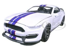 white mustang blue stripes ford shelby gt350r white with blue stripes 1 24 diecast model car