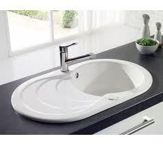 white kitchen sink round bowl sink drainer ceramic white gloss perfect space saving