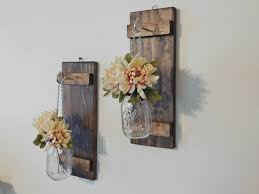 Vase Wall Sconce Set Of 2 Hanging Jar Sconces Rustic Home Decor