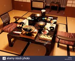 traditional japanese dinner table dinner on a table at a japanese traditional ryokan hotel room in