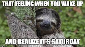 It S Saturday Meme - happy sloth imgflip