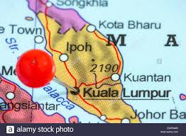 Malaysia On A Map Close Up Of A Red Pushpin On A Map Of Kuala Lumpur Malaysia Stock