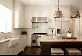 amazing white kitchen with subway tile backsplash home design