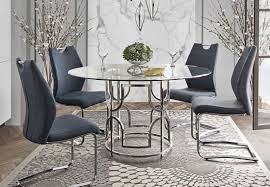 contemporary dining room sets chanelle modern glass top dining table