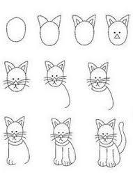 draw cat step step kids drawing