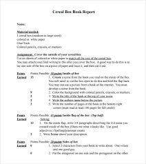 assignment report template sle cereal box book report 8 documents in pdf word