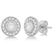 white gold stud earrings vintage diamond halo stud earrings bezel set 14k white gold 0 77ct
