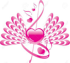 with wings note and treble clef royalty free cliparts