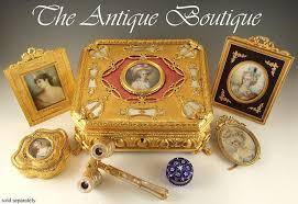 Gilt Bonze Enameled Portrait Antique Miniature Portrait Guilloche Enamel Gilt
