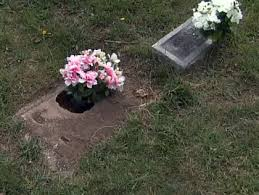cemetery plaques thieves stealing metal plaques vases from plots at plain lawn