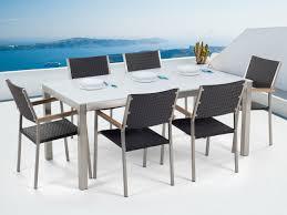 tavoli da giardino rattan set tavolo e sedie da giardino in vetro temperato bianco e