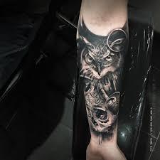 forearm skull tattoos hiboux tatouage ink tattoo blackandgrey skull réaliste