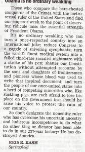 letter to editor calling president obama